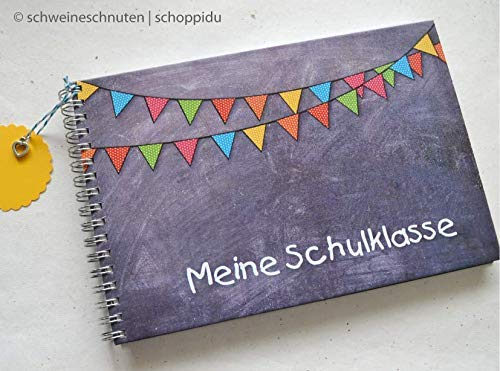 Gästebuch DIN A5 Meine Schulklasse mit Tafellook und Girlande
