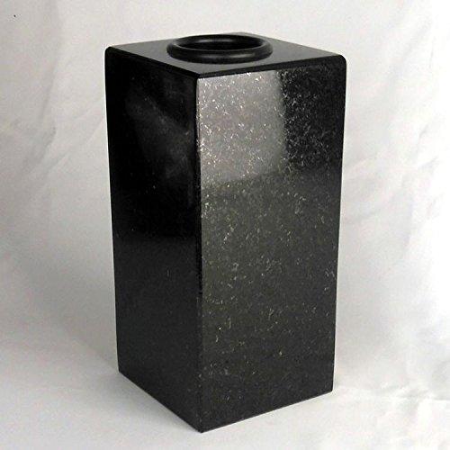 designgrab Cube-medium Designer Grabvase aus Granit Schwedisch Black SS1 schwarz