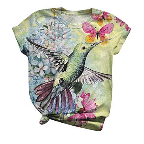 Damen-T-Shirt, Batikdesign, 3D-Druck, Rundhalsausschnitt, kurzärmelig, Tunika, Tops, Grafikbluse, Tees, Vogelliebhaber, Geschenk, Übergröße S-5XL Gr. XXXXXL, grün