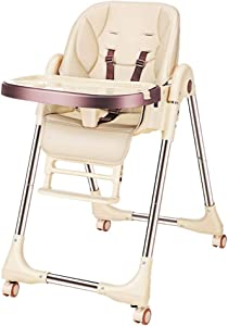 Baby Dining Chair Collapsible Portable Multifunctional Baby Stool Chair with Wheel Seat Height Adjustable