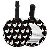 Etiquetas de equipaje redondas de pollo blanco Etiquetas de identificación de viaje de equipaje de cuero, Negro (Negro) - Lp7bgrc-47236776