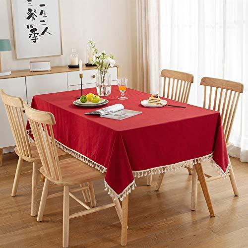 DSman Bordsduk linne utseende lotuseffekt bordslinne bordsduk med ren bomull tvättade röda och gröna jultofsar av bomull