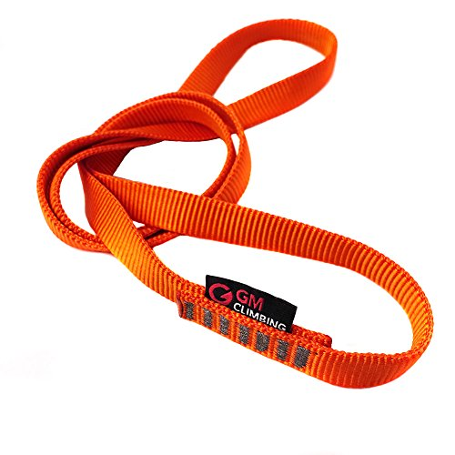 GM CLIMBING Pack of 3 16mm Nylon Sling Runner 120cm / 48inch (Fluorescent Orange)