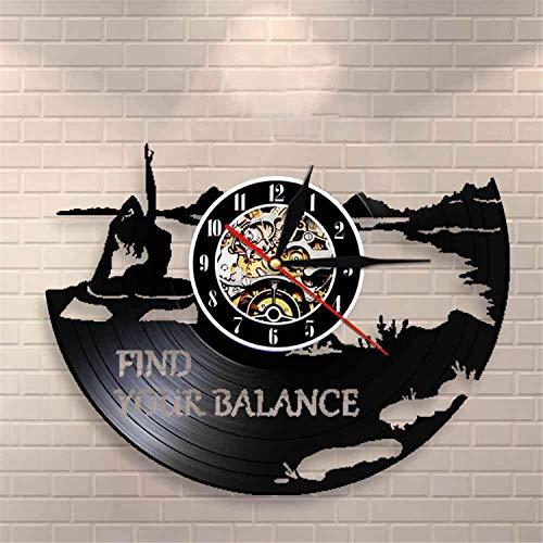 LBJZD Reloj de Pared Find Your Balance Yoga Quotes On Life Reloj De Pared Estudio De Yoga Reloj De Pared con Registro De Vinilo Mandala Meditate Zen Lotus Buddha Spirit Sin Luz Led