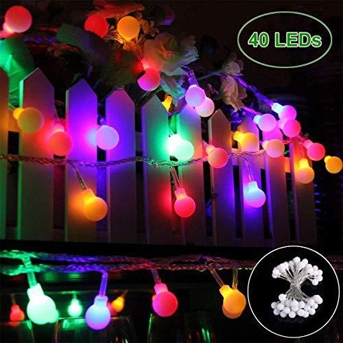 Lichterkette 40 LED Bunt Lichterkette Batterie - GREEMPIRE 4.5M Partylichterkette Kugel Beleuchtung Lichterkette Glühbirnen Innen Außen Wasserdicht für Zimmer Balkon Party Hochzeit Kiderzimmer Garten