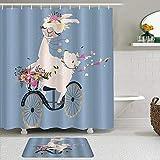Stoff Duschvorhang & Matten Set,Romantisches rosa Alpaka-Mädchen-Lama, das das Weinlese-Fahrrad mit Blumenstrauß auf blauem Hintergr& niedlichen,Badvorhänge mit 12 Haken,rutschfeste Teppiche