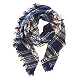 Bufanda larga, manta de cuadros tartán, para mujer, Pashmina, bufanda cuadrada, fular mujer (Azul Marino)