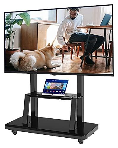 TabloKanvas Soporte de TV móvil para TV de 65 a 32 pulgadas, resistente, negro, universal, con ruedas y almacenamiento (color negro)