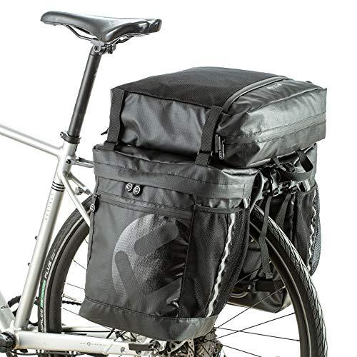 UBORSE Borsa Posteriore per Bicicletta 3 in 1, Borsa Bagagli per Bici Portapacchi Impermeabile Grande capacità 50L, Borsa da Viaggio Multifunzionale Riflettenti con Tracolla, Nero