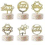 Efive Arts 6 Pcs Happy Birthday Cupcake Topper Glitter Gold Acrylic Cake Topper for Birthday Party...