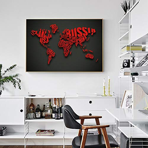 wojinbao Sin Marco Mapamundi Decorativo Arte de la Pared Impresiones en Lienzo Carteles e Impresiones Palabras Mapa Arte Pop Lienzo Pinturas Cuadro Decorativo Cuadro30x40cm