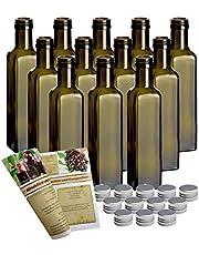 """12er conjunto botellas de vidrio vacías de """"Mara Antik"""" 250 ml incl, tapa de rosca y de botellas de descuento-libro de recetas para embotellado, botella, botella de licor, botella de licor de botellas de descuento"""