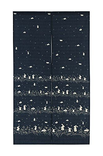 Japanese Noren Doorway Curtain Tapestry Navy blue, many rabbits with flowers