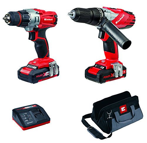 Einhell Power X-Change Cordless Combi and Drill Driver Kit - Twin Pack with Original Einhell 18V 4.0 Ah Power X-Change Starter Kit