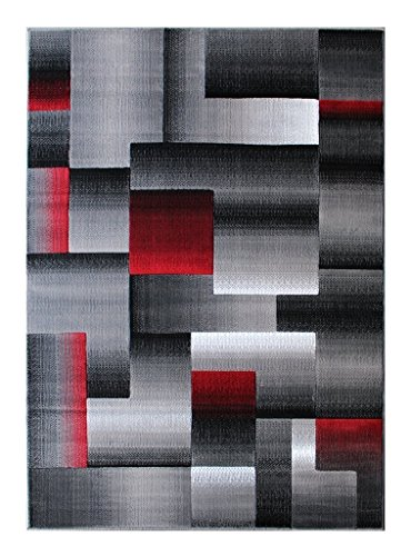 Contemporary Modern Red and Grey Carpet