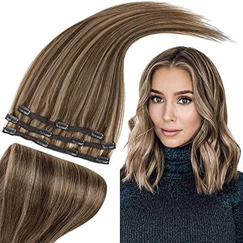RUNATURE Pince à cheveux Remy dans les extensions 50g 10 Pouces Colour 3P12 Marron Foncé Mélanger Blond Foncé 3pcs Clip Cheveux Raides 25cm Extension Cheveux Invisible