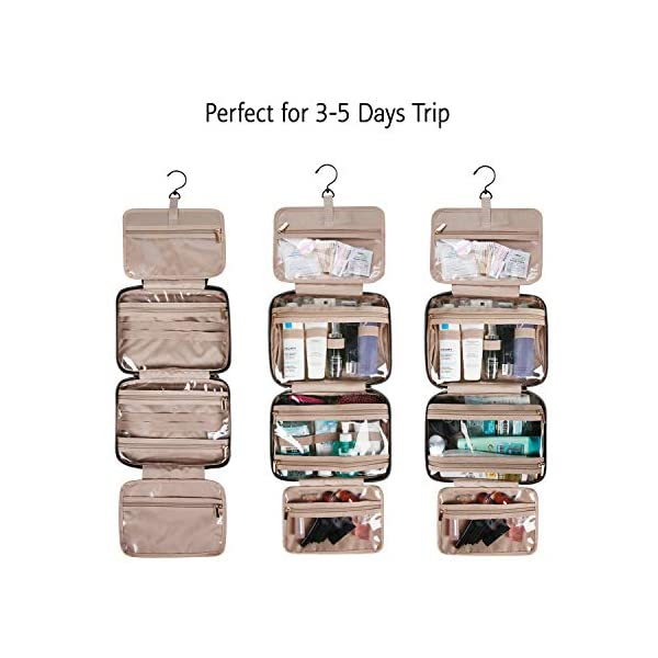 bagsmart toiletry bag travel bag with hanging hook, water-resistant makeup cosmetic bag travel organizer for accessories…