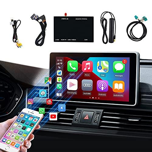 CarlinKit Carplay decodificador Kit,para Audi A3 (13 to 18)/Q7(16 to 18) Retroajuste,Admite CarPlay inalámbrico / Android Auto,(Admite navegación, Google y Waze Map, Música, Mirroring)