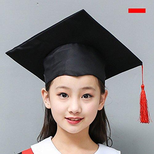 LUOEM Casquillo Doctoral del Accesorio del Traje de la Graduación de los Niños con la Borla roja para los Niños