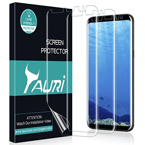 [3-Pack] TAURI for Samsung Galaxy S8 Screen Protector, Full Coverage Screen Protector Case-Friendly Anti-Bubble HD Clear Flexible Film