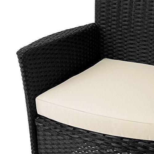 Poly Rattan Sitzgruppe 6+1 mit stapelbaren Stühlen Sitzgarnitur Gartengarnitur Gartenset - 4