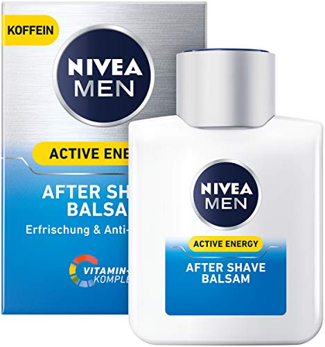 NIVEA MEN Active Energy After Shave Balsam im 3er Pack ( 3 x 100 ml), revitalisierendes After Shave, Hautpflege nach der Rasur mit Koffein und Vitamin+ Komplex