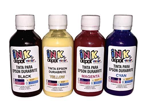 Juego de 4 Tintas pigmentadas Marca Ink Depot Compatible con Epson para Recarga de impresoras,...