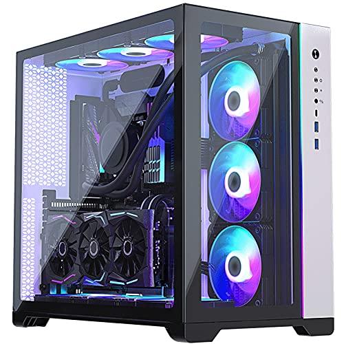 Carcasa para PC, Carcasa para Computadora con Refrigeración por Agua ARGB De Vidrio Templado Panorámico, Torre Alta/Tres Lados Compatibles con Refrigeración por Agua 360 (Color : White)