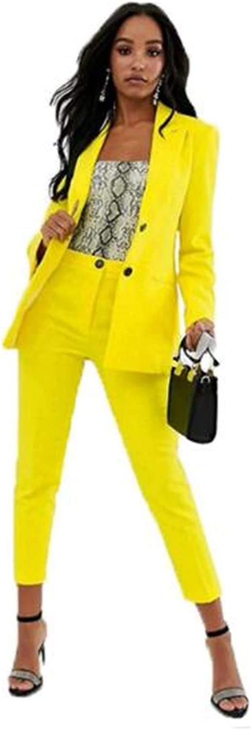 Yellow Women's 2 Piece Office Lady Business Suit Set Slim Fit Blazer Jacket and Pant