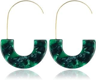 Acrylic Mottled Earrings, Geometric Circle Earring Tortoise Shell Earring for Women Girls Fashion Jewelry Bohemian Resin Drop Dangle Statement Earrings