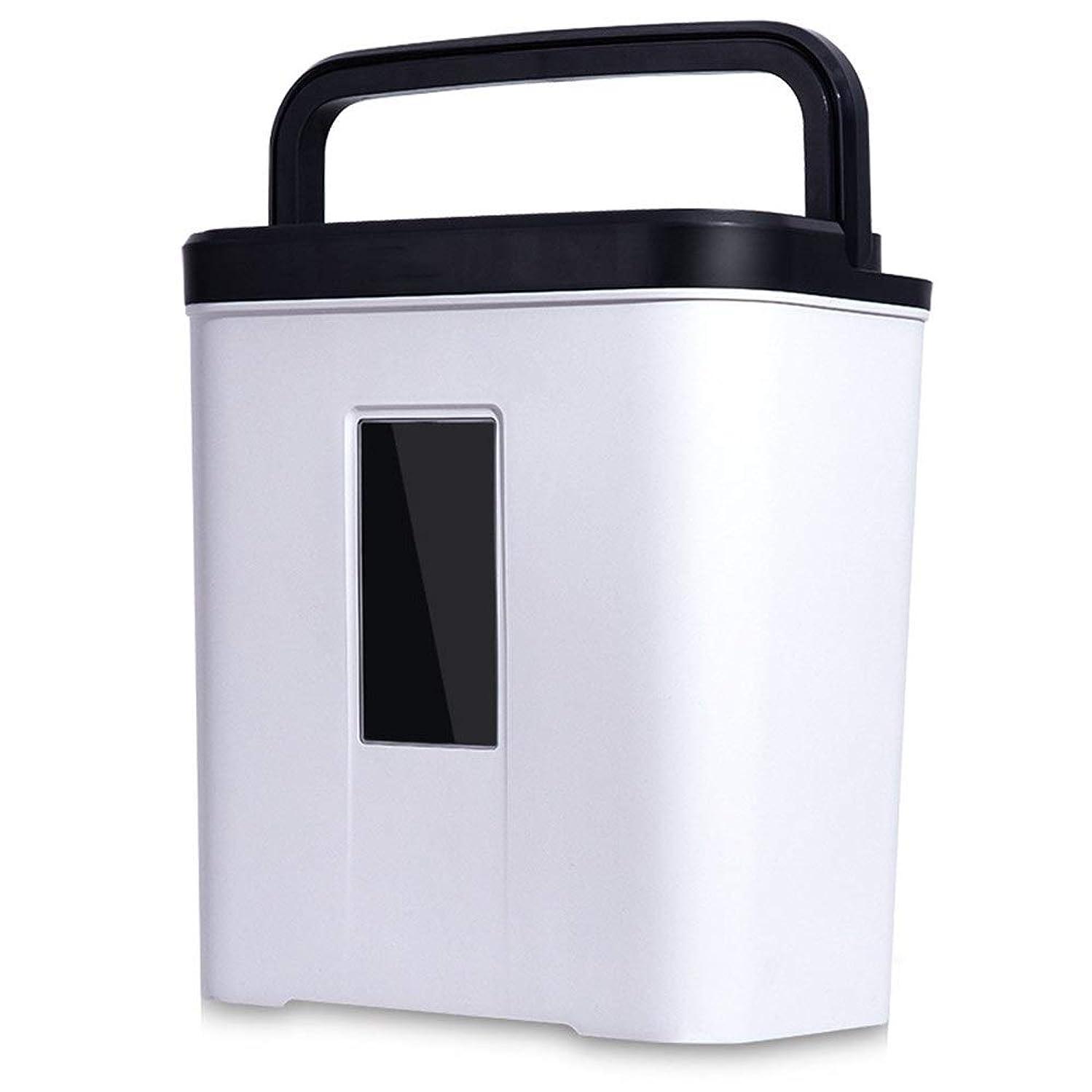 とらえどころのないはいブラジャー安全 細密カット ミニ4レベルのポータブルシュレッダーオフィスホームファイルシュレッダー (色 : White, Size : 32x20x35cm)