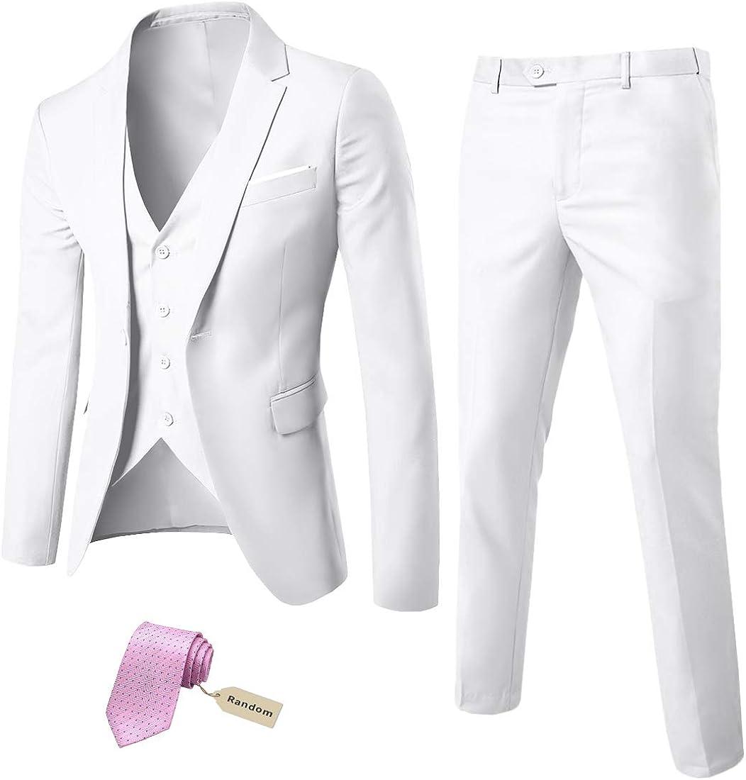 MrSure Men's shop 3 Max 53% OFF Piece Suit Blazer with Button Fit Slim Tux One
