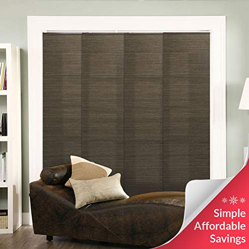 Chicology Adjustable Sliding Panels, Cut to Length Vertical Blinds, French Oolong (Natural Woven) - Up to 80'W X 96'H