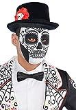 Amscan 999797 - Maske Tag des Todes, 1 Stück, Einheitsgröße für Erwachsene, Schwarz-Weiß, Gesichtsmaske Day of the Dead, Dia de los Muertos, mexikanischer Feiertag, Halloween, Karneval, Kostüm