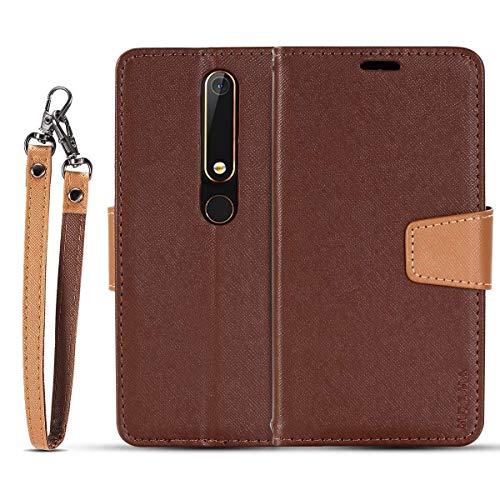 JEEXIA® Schutzhülle Für Nokia 6.1 (2018) / Nokia 6 2018, Retro PU Lederhülle Flip Cover Brieftasche Innenschlitzen Mit Stand Doppelte Farbe Ledertasche - Brown