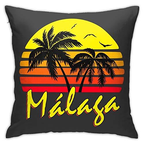 HONGYANW Málaga - Funda de almohada vintage para sol, impresión de doble cara, funda de almohada con cremallera oculta, hermoso patrón impreso de 45,7 x 45,7 cm