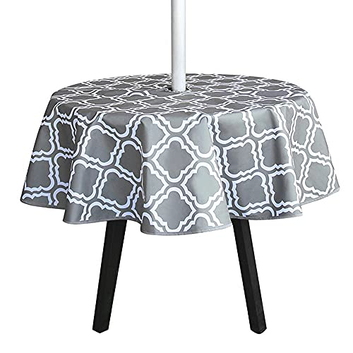 Waterproof Outdoor Tablecloth Garden Patio Table Cover with Umbrella Hole and Zipper for Garden Table BBQs Family Gatherings Party (Flower type-150*150cm)