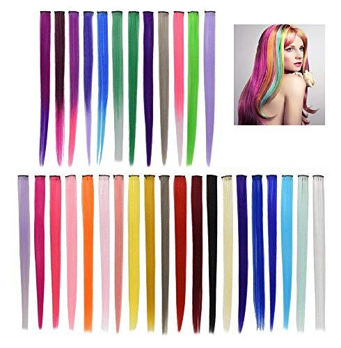 BUZIFU 32 Pezzi Extension Capelli Colorati Clip Capelli Colorati Ciocche Capelli Colorati 54 cm Clip Ciocche Colorate per Cosplay Party per Bambini Ragazze (32 Colori)