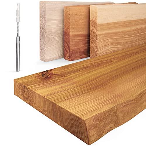 LAMO Manufaktur Estante de Madera con Borde Natural, Estante Flotante, Modelo Invisible, Rustico 160cm, LW-01-A-003-160W