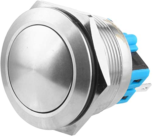 discount Larcele 25mm Latching Push Button Switch Waterproof Self-Lock outlet sale Metal DIY Switch 1No Stainless Steel Shell JSANKG-21,1 high quality Piece(J Pin Terminal,Ball Head) online