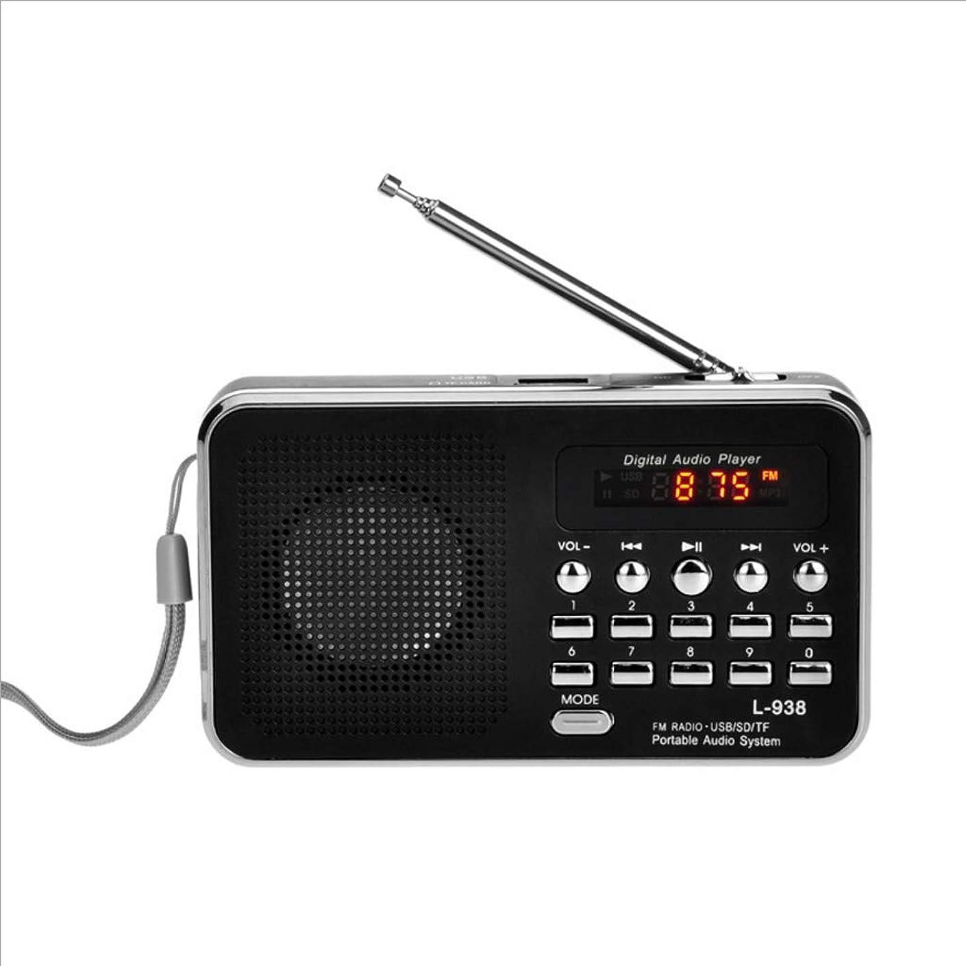 階段用心換気するAUX入力スピーカーを再生するポータブルFMラジオ充電式デジタルLED MP3スピーカープレーヤーTFのSDカード (Color : Black)