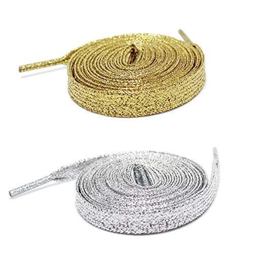 Set di 2 paia di lacci: lacci dorati piatti glitterati Premium – Lacci argentati e lacci dorati – Lunghezza 115 cm – Lacci originali per personalizzare le proprie scarpe.