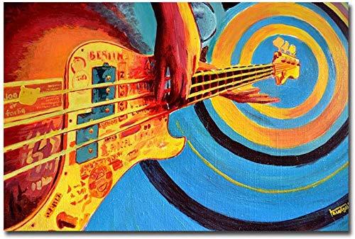 LSDEERE Dibujo Digital Pintura Por Números Abstracto Guitarra Música Impresión HD Pintura al óleo Vintage Wall Art Foto Para Decoración Del Hogar 40x50cm Frameless