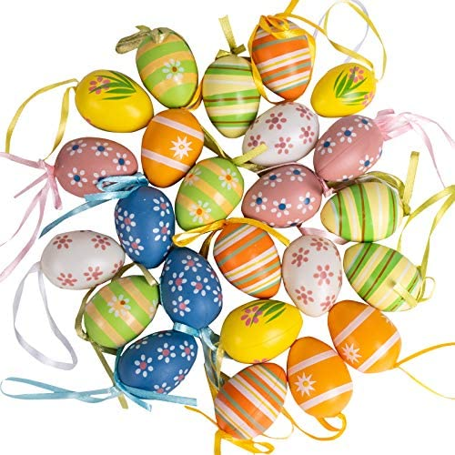 Ueerdand Easter Eggs Plastic Easter Eggs Surprise Toys with Hanging Ribbon Easter Egg Decorating product image