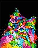 WISKALON Pintura por números para Adultos DIY Pintura al óleo Kit con Pinceles y Pinturas para Niños Principiantes - Gato Colorido Sin Marco 16 X 20 Pulgadas