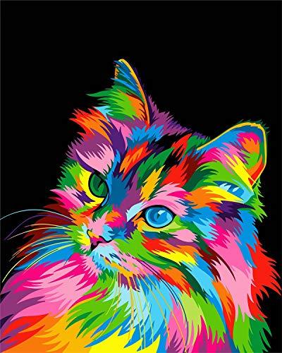 WISKALON DIY Ölgemälde Tiere Acrylfarben Gemälde Kit für Erwachsene Teenager Anfänger Malen nach Zahlen auf Leinwand, 16x20 Zoll Bunte Katze - (Ohne Rahmen)