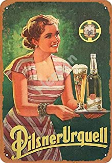 Henson Pilsner Urquell Beer Vintage Tin Sign Logo 12 * 8 Inches Advertising Eye-Catching Wall Decoration