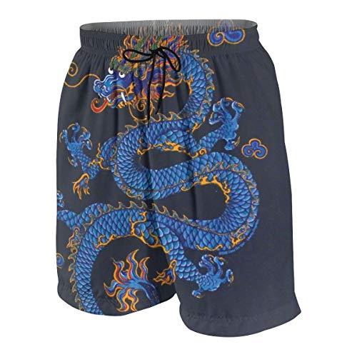 Hebb Surf Badehose für Herren und Jungen, schnell trocknend, Motiv: Blue Dragon #3 7–20T, Herren, weiß, M(10-12)