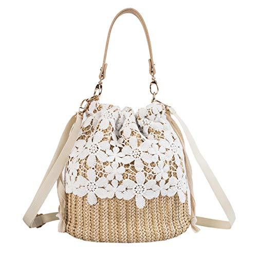 YAKEFJ Stroh-Crossbody-Handtaschen, Damen-Handtasche mit Griff oben, Sommer-/Strand-Handtasche, - blume - Größe: Einheitsgröße