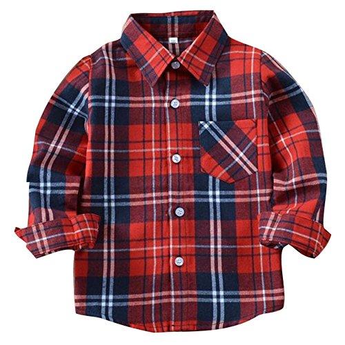 Kinder Hemden Slim Fit Langarm Hemden Karierte T-Shirts Frühling Herbst Blusen Stehkragen Mit Tasche Freizeithemd Für Jungen Mädchen 3-15 Jahre